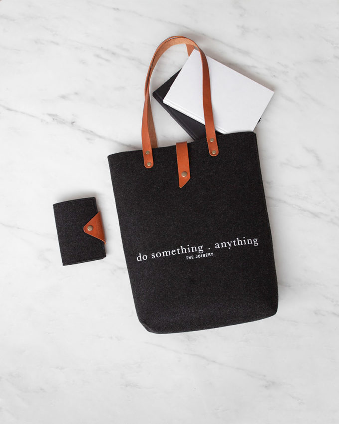 Do Something Tote Charcoal Leather