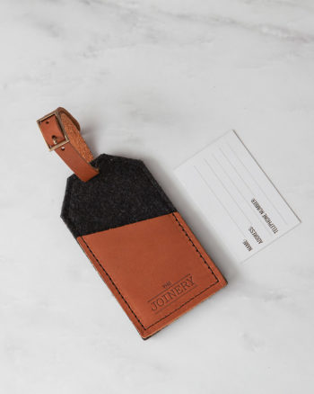 Luggage Tag Charcoal Tan